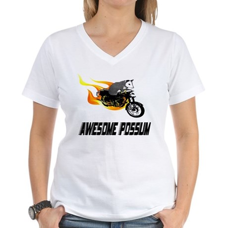 Flaming Awesome Possum Women's V-Neck T-Shirt