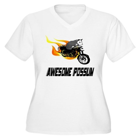 Flaming Awesome Possum Women's Plus Size V-Neck T-