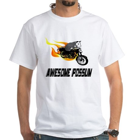 Flaming Awesome Possum White T-Shirt