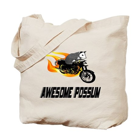 Flaming Awesome Possum Tote Bag