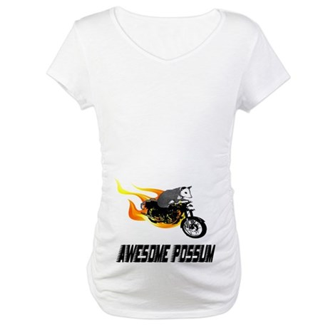 Flaming Awesome Possum Maternity T-Shirt