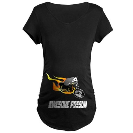 Flaming Awesome Possum Maternity Dark T-Shirt