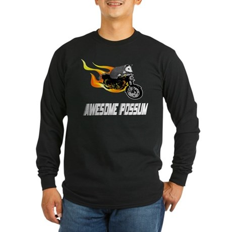 Flaming Awesome Possum Long Sleeve Dark T-Shirt