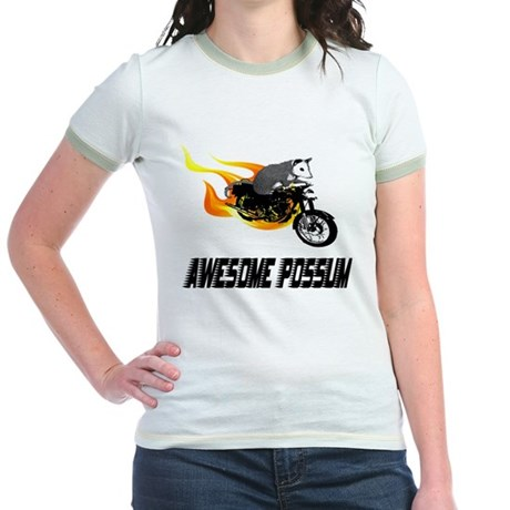 Flaming Awesome Possum Jr. Ringer T-Shirt