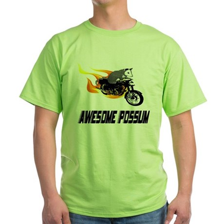 Flaming Awesome Possum Green T-Shirt
