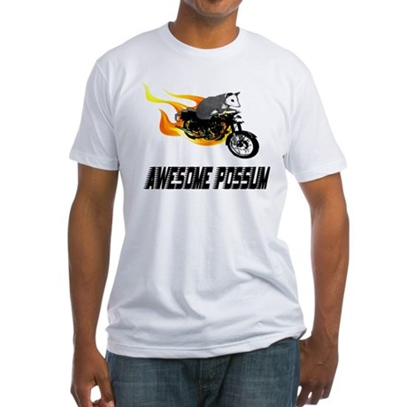 Flaming Awesome Possum Fitted T-Shirt