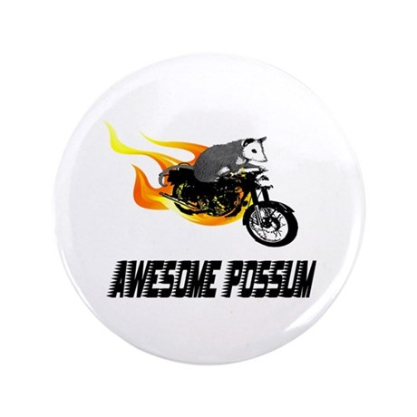 "Flaming Awesome Possum 3.5"" Button (100 pack)"
