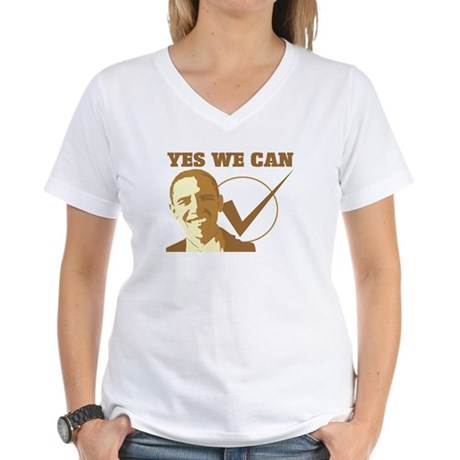 Yes We Can (vote Obama) Women's V-Neck T-Shirt