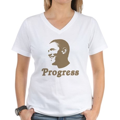 Obama for Progress Women's V-Neck T-Shirt