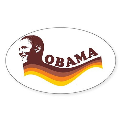 Barack Obama (brown retro) Oval Sticker