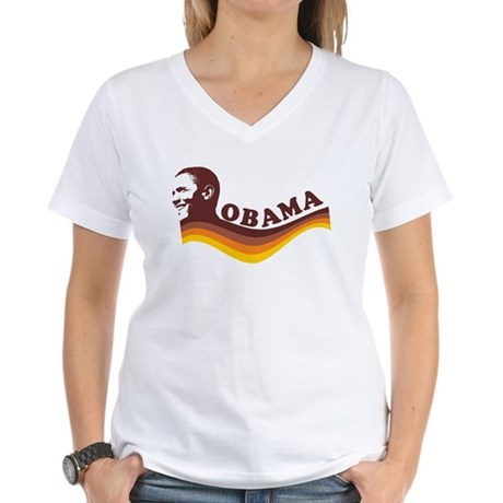 Barack Obama (brown retro) Women's V-Neck T-Shirt