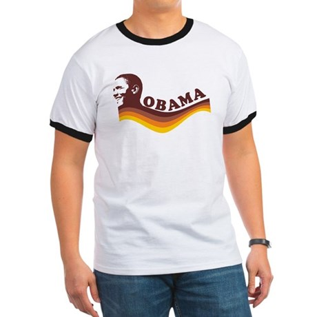 Barack Obama (brown retro) Ringer T