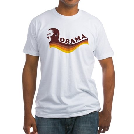 Barack Obama (brown retro) Fitted T-Shirt