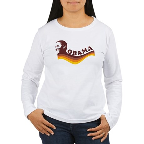 Barack Obama (brown retro) Womens Long Sleeve T-S