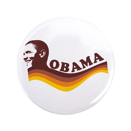 "Barack Obama (brown retro) 3.5"" Button"