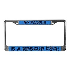 Rescue Dog Poodle License Plate Frame