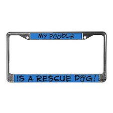 Rescue Dog Poodle License Plate Frame
