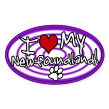 Hypno I Love My Newfoundland Oval Sticker Purple