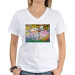 Garden / English Setter Women's V-Neck T-Shirt