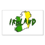 Irish Colors on Irish Map Rectangle Sticker