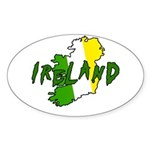Irish Colors on Irish Map Oval Sticker
