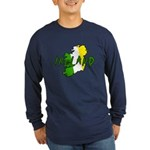 Irish Colors on Irish Map Long Sleeve Dark T-Shirt
