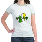Irish Colors on Irish Map Jr. Ringer T-Shirt