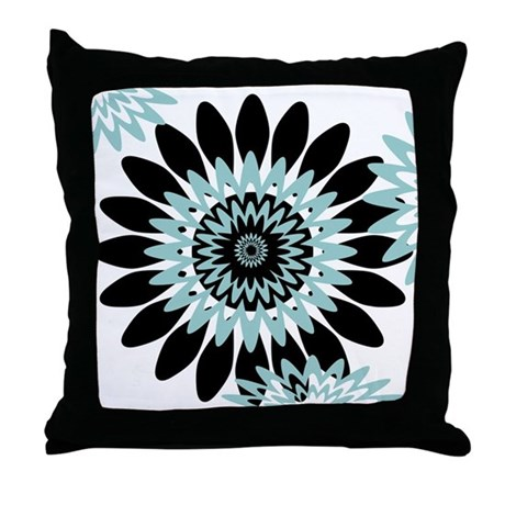 Large Flower Throw Pillow : Large Teal Flower Throw Pillow by peacockcards