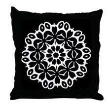 Black/white Single Doily Throw Pillow