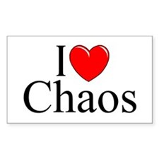 """""""I Love Chaos"""" Rectangle Decal"""