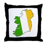 Tricolor Map of Ireland Throw Pillow