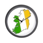 Tricolor Map of Ireland Wall Clock