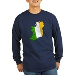 Tricolor Map of Ireland Long Sleeve Dark T-Shirt