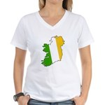 Tricolor Map of Ireland Women's V-Neck T-Shirt