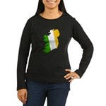 Tricolor Map of Ireland Women's Long Sleeve Dark T