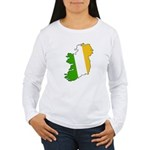 Tricolor Map of Ireland Women's Long Sleeve T-Shir