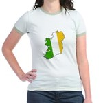 Tricolor Map of Ireland Jr. Ringer T-Shirt
