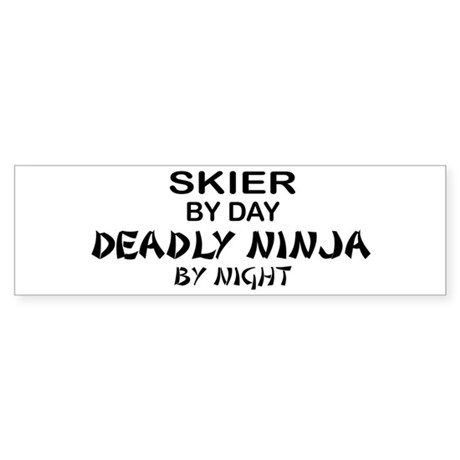 Skier Deadly Ninja Bumper Sticker