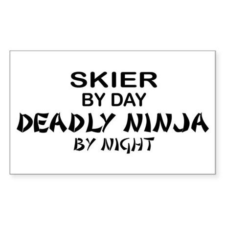 Skier Deadly Ninja Rectangle Sticker