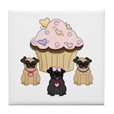 Pug Dog Cupcakes Tile Coaster