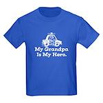My Grandpa is my Hero (Police) Kids Dark T-Shirt