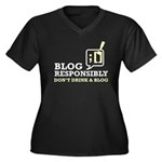 Blog Responsibly Women's Plus Size V-Neck Dark T-S