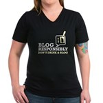Blog Responsibly Women's V-Neck Dark T-Shirt