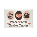 Peace Love Border Terrier Rectangle Magnet (100 pa