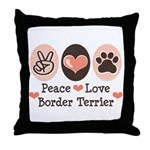 Peace Love Border Terrier Throw Pillow