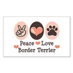 Peace Love Border Terrier Rectangle Sticker