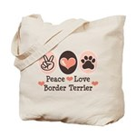 Peace Love Border Terrier Tote Bag