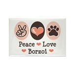 Peace Love Borzoi Rectangle Magnet (10 pack)