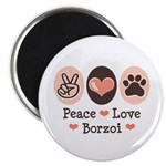 Peace Love Borzoi Magnet