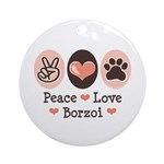 Peace Love Borzoi Ornament (Round)